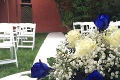 cerimonia civile all'americana rito simbolico tema blu passatoia bianca