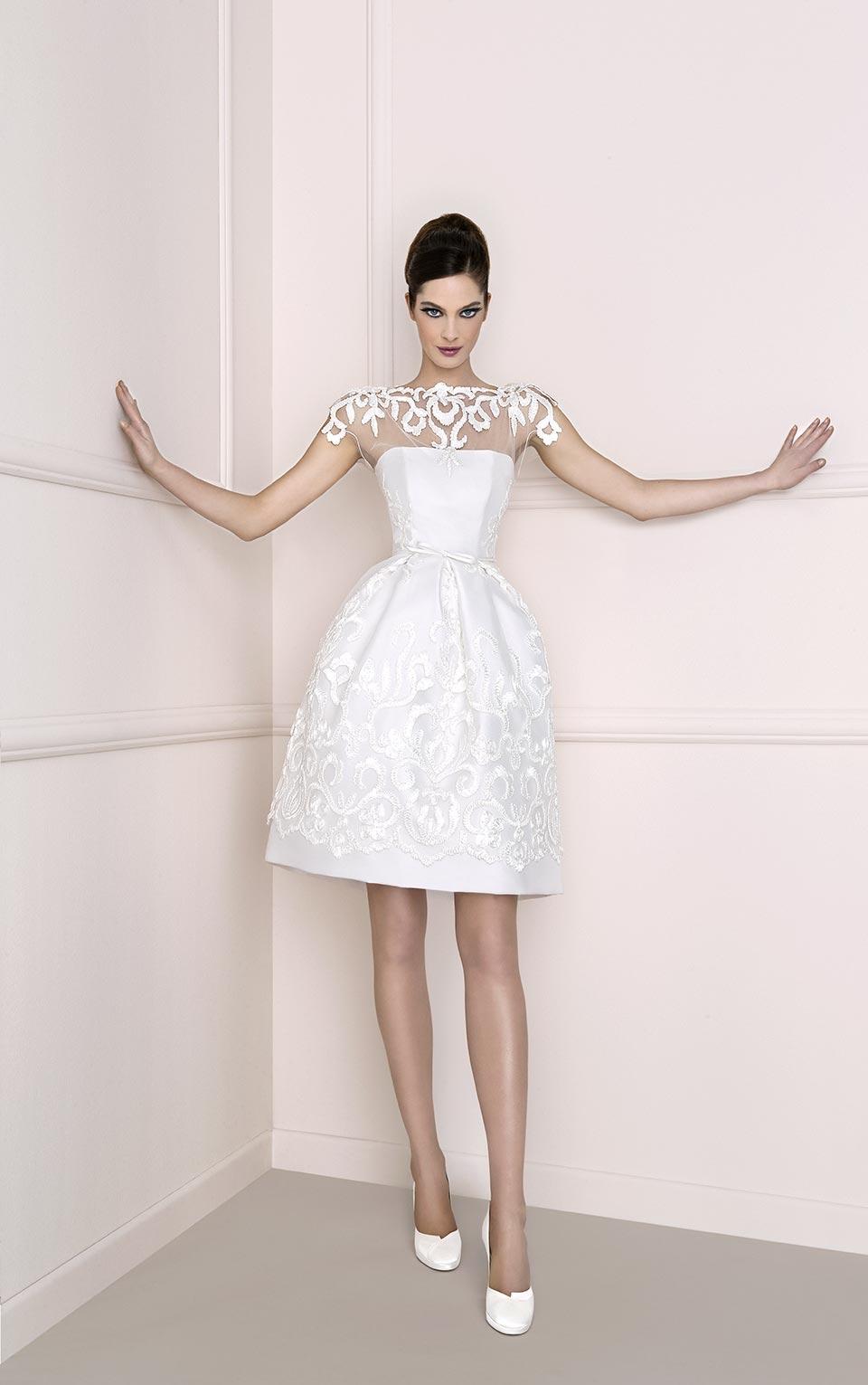 abito corto da sposa di antonio riva in tulle