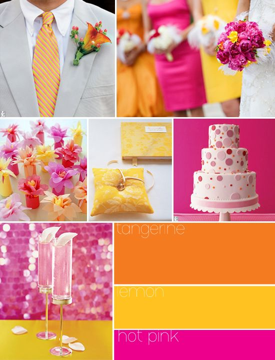 wedding palette fucsia and orange