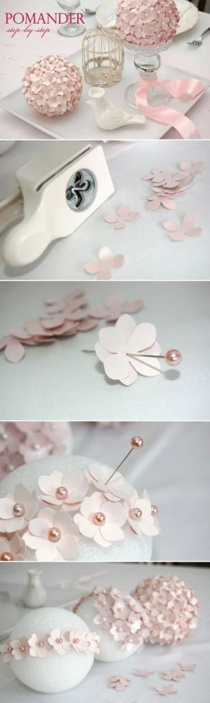centrotavola fai da te con fiori di carta