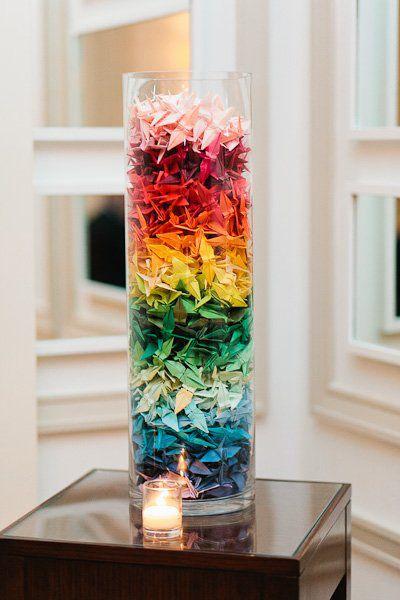 centrotavola per matrimonio a tema arcobaleno