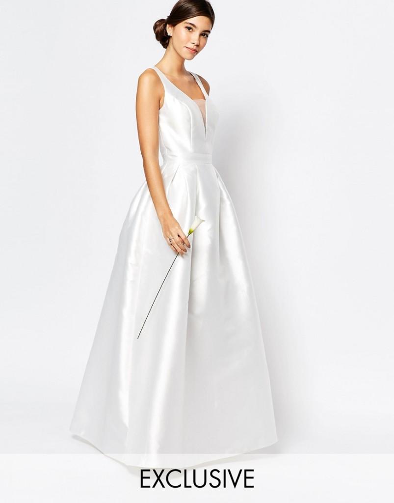abito da sposa scollo a v economico