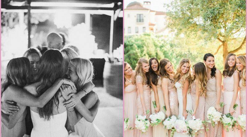 foto matrimonio con amiche e damigelle