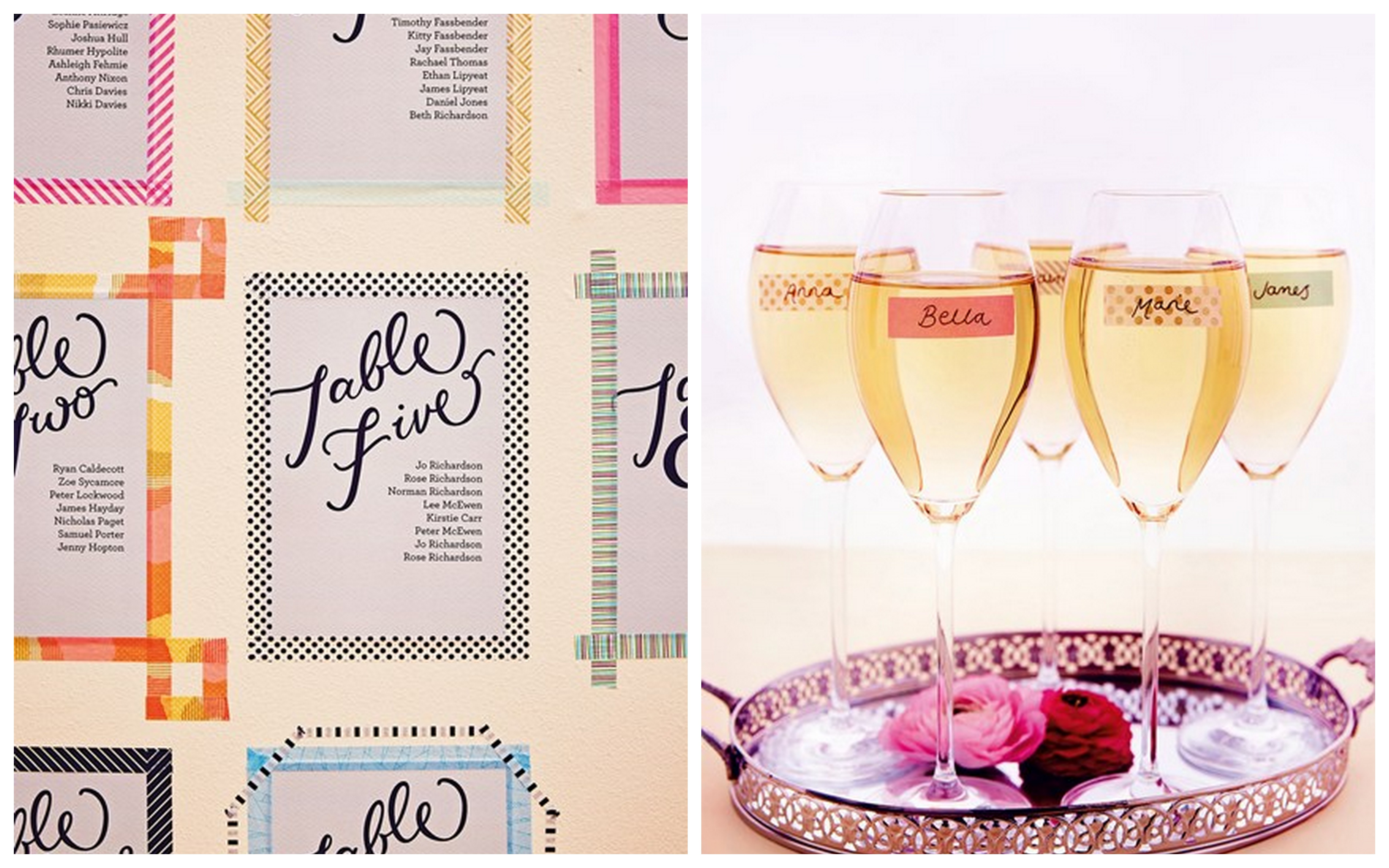 washi tape per decorare matrimonio