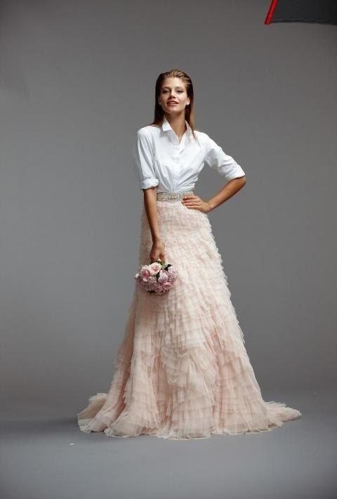 abito da sposa con camicia