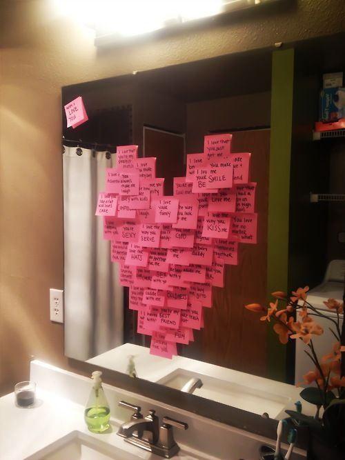 post it romantici a forma di cuore