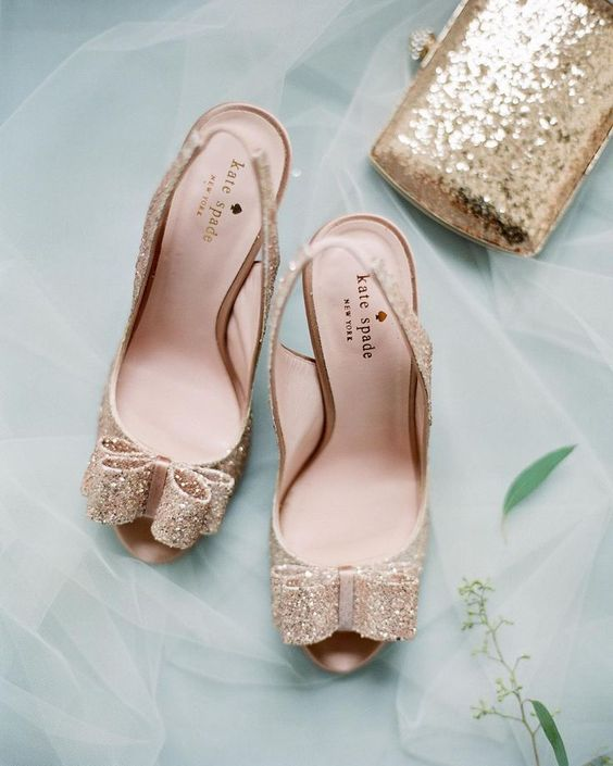 gold glitter kate spade wedding shoes