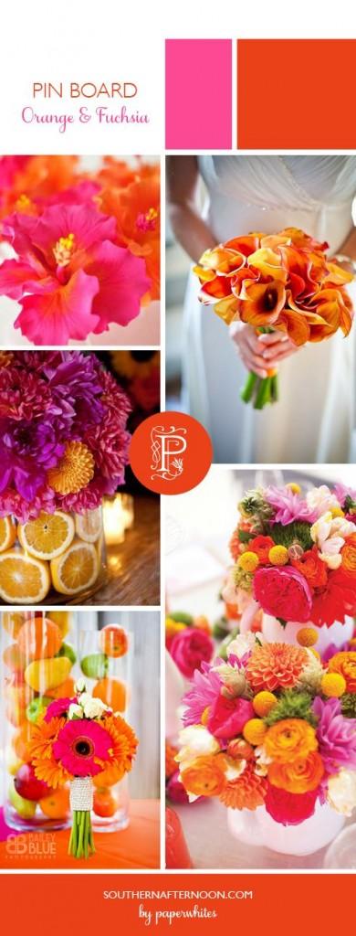 tema del matrimonio arancione e rosa