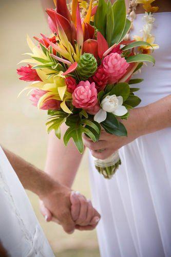 tema matrimonio tropicale bouquet