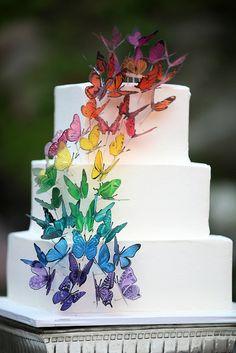 matrimonio a tema arcobaleno torta wedding cake