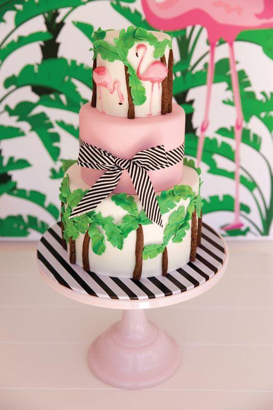 matrimonio a tema tropicale torta