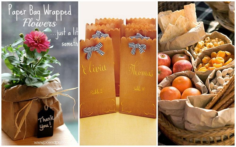 sacchetti di carta marroni per il matrimonio